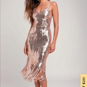 Lulu's Rose Gold Sequin Fringe Midi Dress